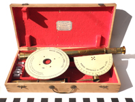 Unusual telescope and measurements case.  Dials are in French.