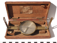 Surveyor's vained compass with thrashed box.